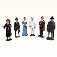 Six cold painted enameled cast metal miniature figures