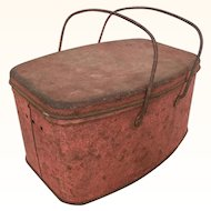 Wonderful old rusty red lunchpail with great patina