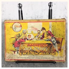 """Antique Game """"Magnetic Jack Straws"""" with gorgeous litho graphics"""