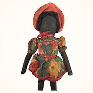 Vintage Handmade Folk Art Black Doll