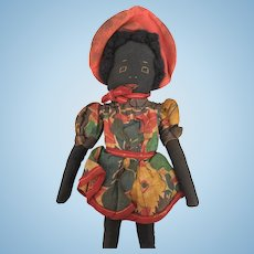 Vintage Handmade Folk Art Black Doll