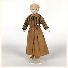 Antique china head miniature dollhouse blonde lady