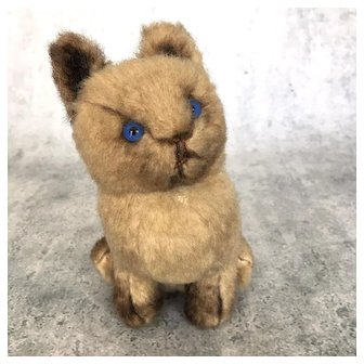 Vintage mohair stuffed Siamese Toy cat