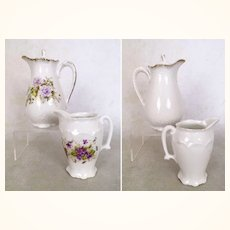 Vintage small ceramic pitcher and creamer