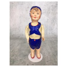 French Papier mache poupard with painted costume