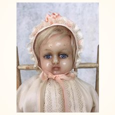 Petite and Very pretty German Wax over doll in christening gown