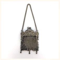 Antique German silver miniature doll purse