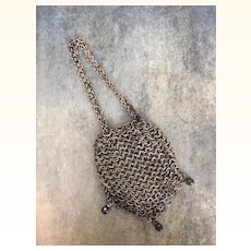 Antique silver toned metal miniature drawstring purse for dolls