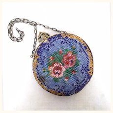 Antique and gorgeous glass beaded purse for large doll