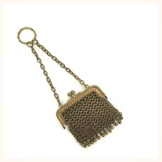 Antique miniature doll's purse, brass chain maille