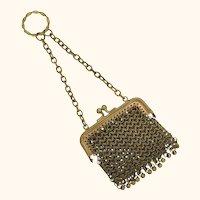 Antique miniature doll's purse, brass chain maille