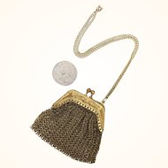 Antique miniature gold plated brass purse for doll