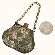 Antique miniature brass purse for doll