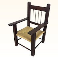 American wooden rush seat chair by Loring H. Cushing of Hingham, MA