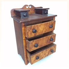 American Walnut and Fruitwood doll sized chest of drawers