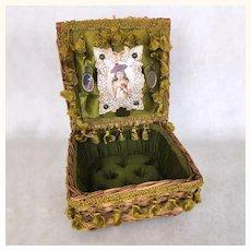 Vintage satin lined Presentation basket for dolls