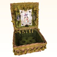 Vintage satin lined Presentation basket for dolls