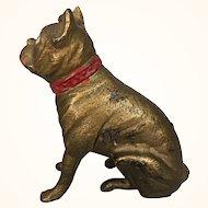 Antique gold painted cast iron boxer dog still bank