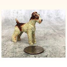 Vintage dollhouse Wire hair fox terrier
