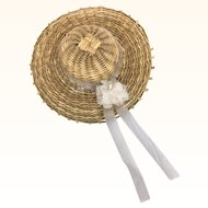 Vintage tiny straw hat for all bisque or mignonette
