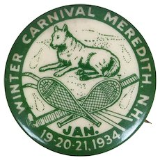 Vintage 1934 Meredith NH Winter Carnival button pinback