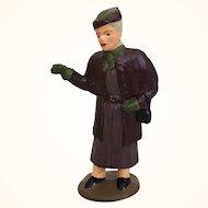 Vintage cast metal figure miniature, stylish lady
