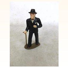 Vintage Barclays cast metal elegant older man with cane