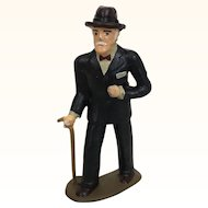 Vintage Barclays cast metal elegant older man with cane