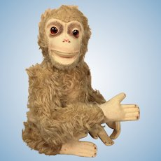 Vintage stuffed animal monkey toy, furry and sweet