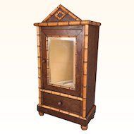 Antique miniature faux bamboo cabinet
