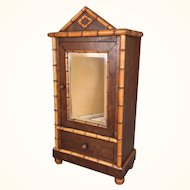 Antique miniature faux bamboo cabinet