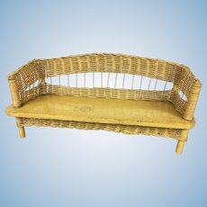 Vintage wood and wicker yellow painted bench for dolls