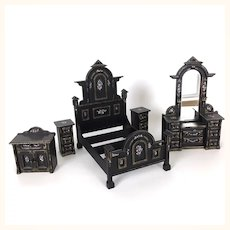 Vintage Set of Artisan Fabulously Painted Dollhouse Furniture