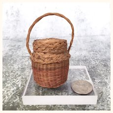 Old miniature basket with lid for dollhouse decor