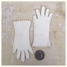 Vintage white leather miniature doll gloves
