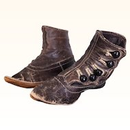 Antique pointed child's boots for large doll or display