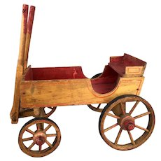 Antique toy wooden miniature wagon