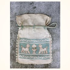 Antique cotton cross stitched drawstring bag