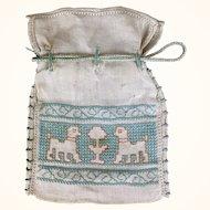 Antique cotton cross stitched drawstring bag