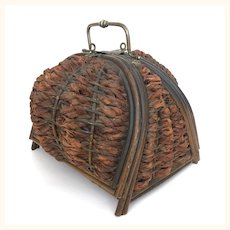 Antique Victorian era wicker sewing basket lined in satin