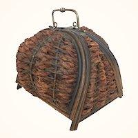 Antique Victorian era wicker sewing basket