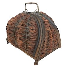 Antique Victorian era wicker sewing basket