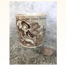 "Antique Victorian era child sized mug with image of ""The Little Plunderer"""