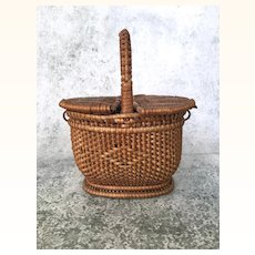 Antique Victorian era miniature swing lid basket