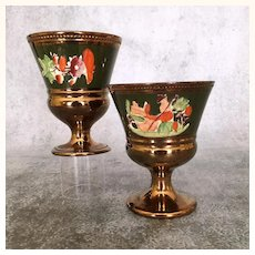 Pair of antique copper luster goblets