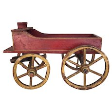 Antique wooden toy miniature wagon