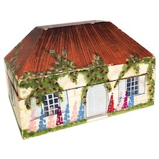 Vintage Toy house painted box tea caddy