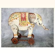 Vintage painted wooden elephant pull toy