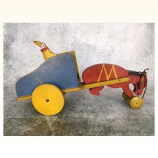 Vintage Toy Craft Mule Cart and Clown wooden Pull Toy