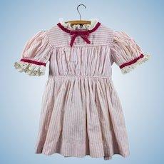 Vintage cotton pink striped dress with velvet ribbon trim